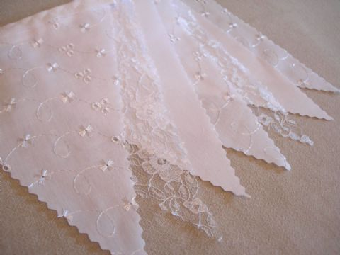 BUNTING - White Plain, Lace & Broderie Anglaise - 3m, 5m or10m